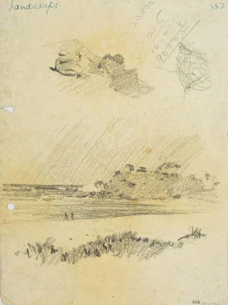 An image of recto: Reclining figures and Beachscape verso: Large rocks by Lloyd Rees