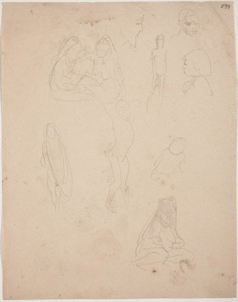 An image of (Figure studies) (Landscapes and natives from New Guinea) by William Dobell
