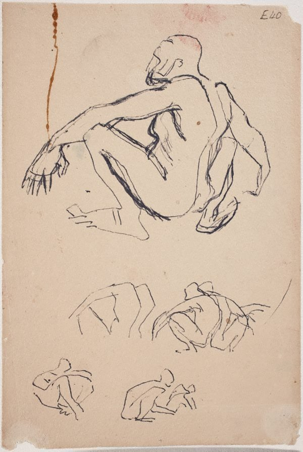 An image of (Squatting figure studies) (Landscapes and natives from New Guinea)