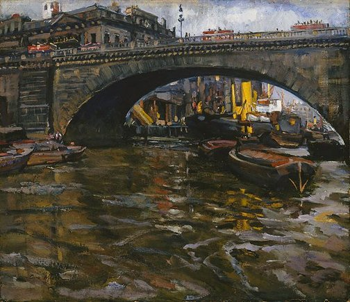 An image of Under London Bridge by Dora Meeson