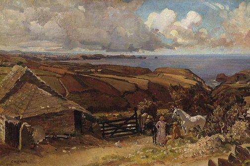 An image of Trewarmitt, Cornish landscape by George W Lambert