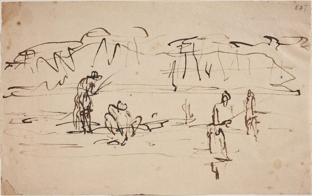 An image of (Fishing studies) (Landscapes and natives from New Guinea)