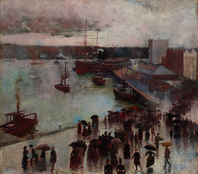 Departure of the Orient - Circular Quay, (1888) by Charles Conder