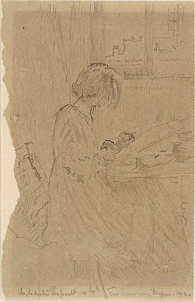 An image of Young girl sketching, Dieppe by Walter Richard Sickert