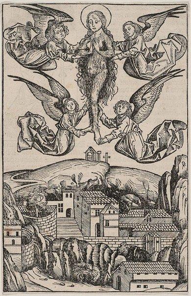 An image of Mary Magdalen borne aloft by four angels by Michael Wolgemut, Wilhelm Pleydenwurff
