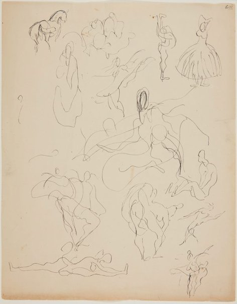 An image of Sheet of ballet sketches by William Dobell