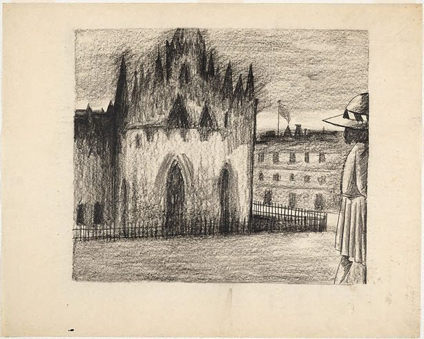 An image of (Schoolgirl and cathedral)