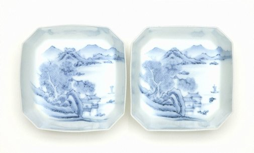 An image of Set of 2 square 'mukozuke' with décor of landscape by Arita ware/ Nabeshima style