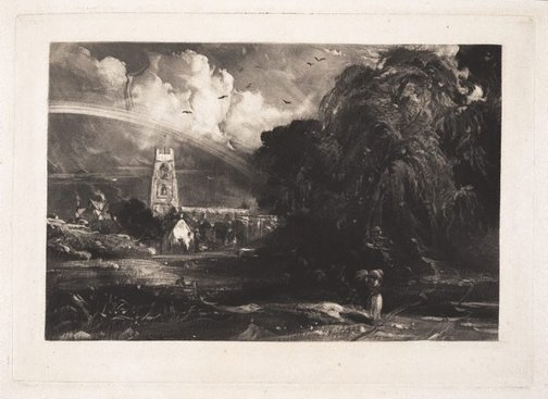 An image of Stoke-by-Nayland, Suffolk by David Lucas, after John Constable
