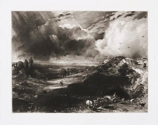 An image of A heath (Hampstead Heath: Branch Hill pond) by David Lucas, after John Constable