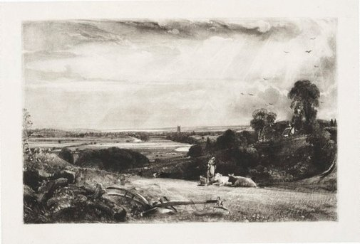 An image of Summer morning, Dedham Vale by David Lucas, after John Constable