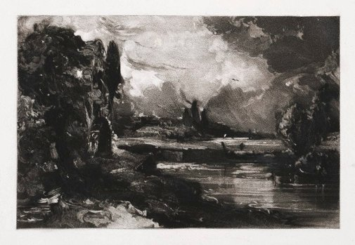 An image of A mill by David Lucas, after John Constable