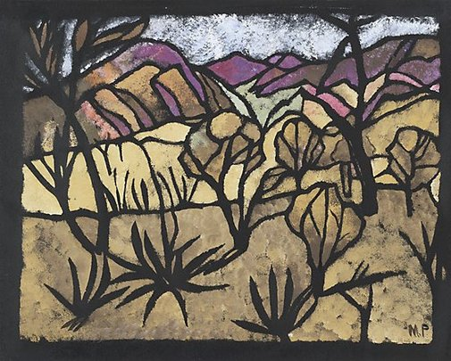 An image of A mile out of Alice Springs by Margaret Preston