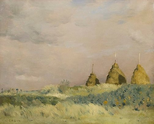 An image of The three stacks by Jean Cazin