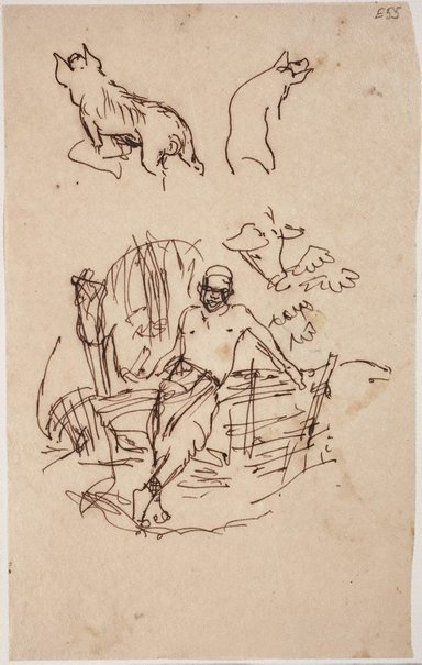 An image of (Man leaning on fence, pig studies) (Landscapes and natives from New Guinea) by William Dobell