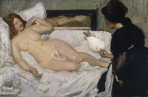An image of The gift by George W Lambert
