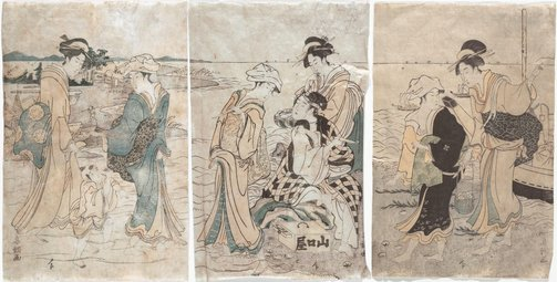 An image of Women gathering clams at low tide by Tamagawa Shūchō