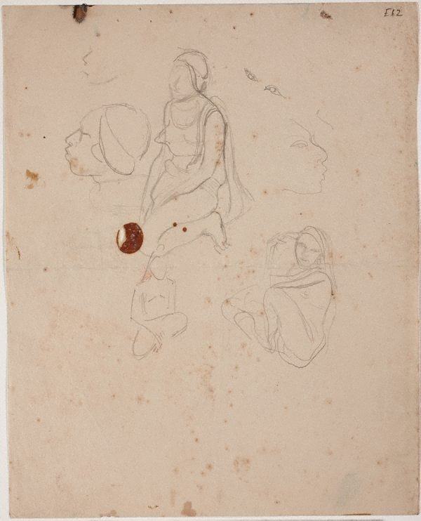 An image of (Figure studies; woman kneeling) (Landscapes and natives from New Guinea)