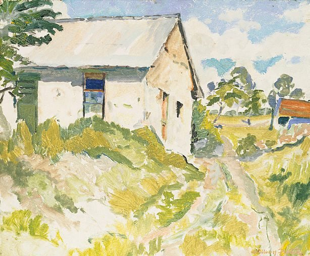 An image of Landscape with white shed