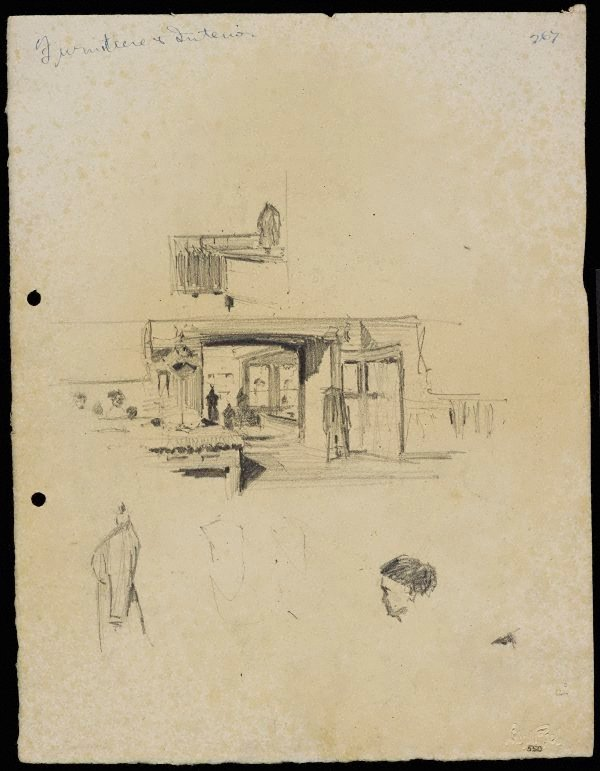 An image of recto: Shop interior and fittings verso: Shop interior and fittings and Two self portraits [bottom]