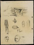 Alternate image of recto: Shop interior and fittings verso: Shop interior and fittings and Two self portraits [bottom] by Lloyd Rees