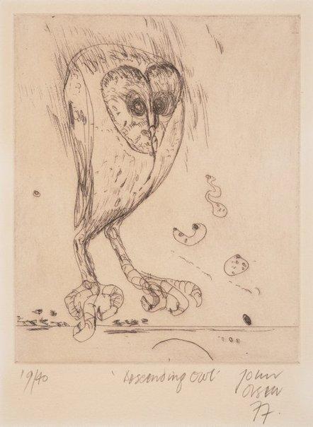 An image of Descending owl by John Olsen