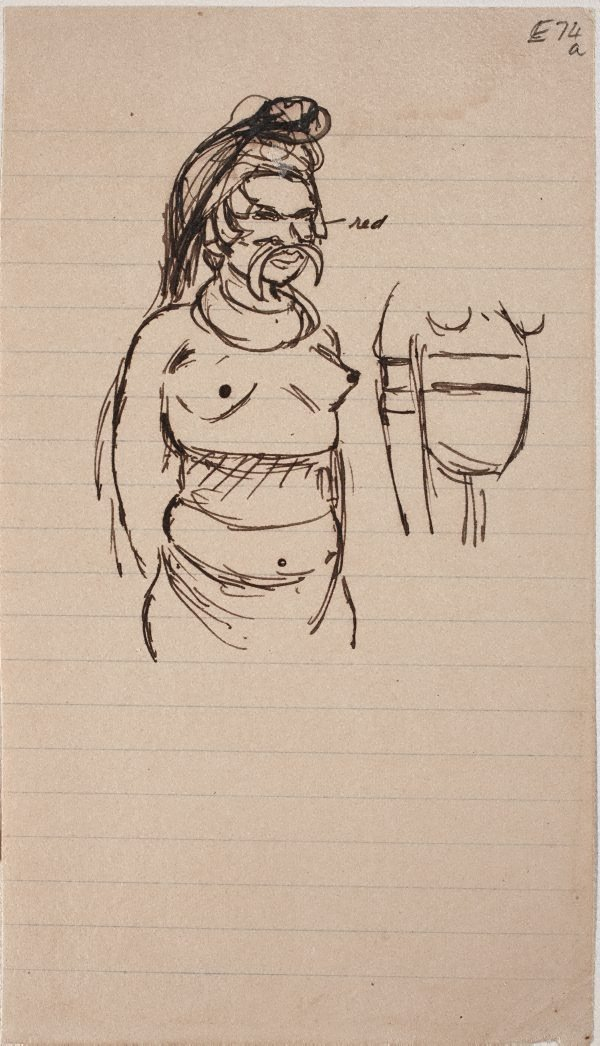 An image of (Figure study; woman with bone in nose) (Landscapes and natives from New Guinea)