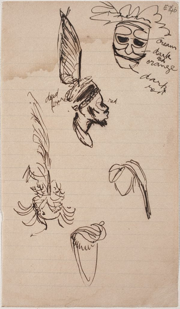 An image of (Studies of headdresses) (Landscapes and natives from New Guinea)