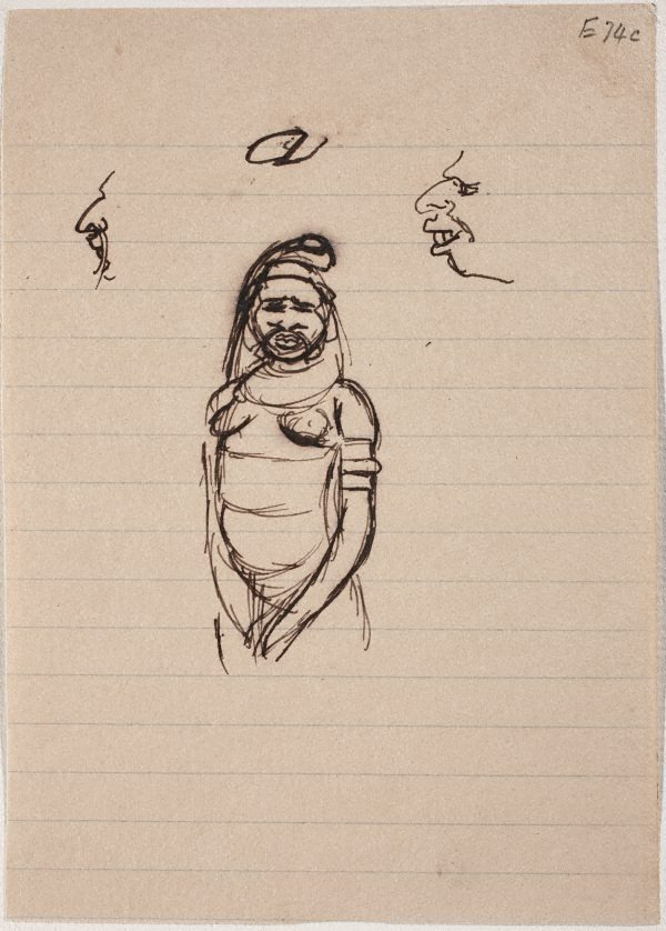 An image of (Figure study, woman with bone in nose) (Landscapes and natives from New Guinea)