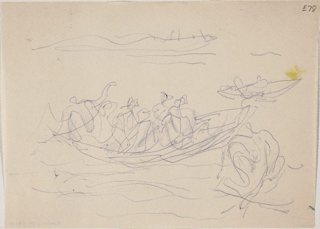 An image of (Figures in a boat) (Landscapes and natives from New Guinea)