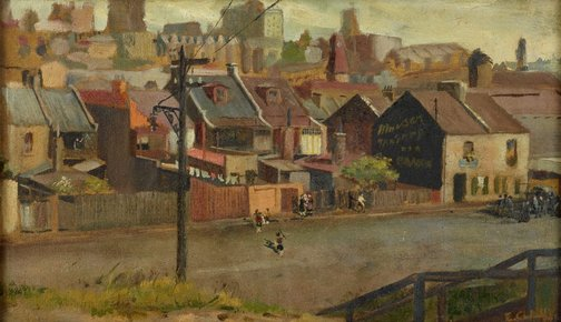 An image of Street scene by Eugene Crick Claux