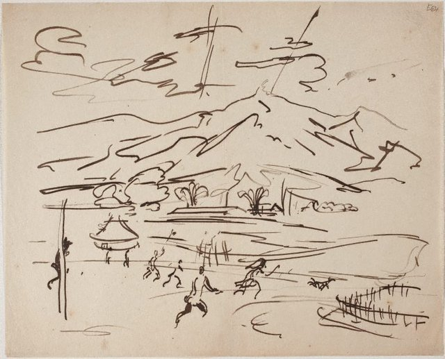 An image of (Landscape with figures) (Landscapes and natives from New Guinea)