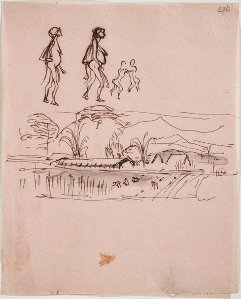 An image of (Figures and landscape) (Landscapes and natives from New Guinea) by William Dobell