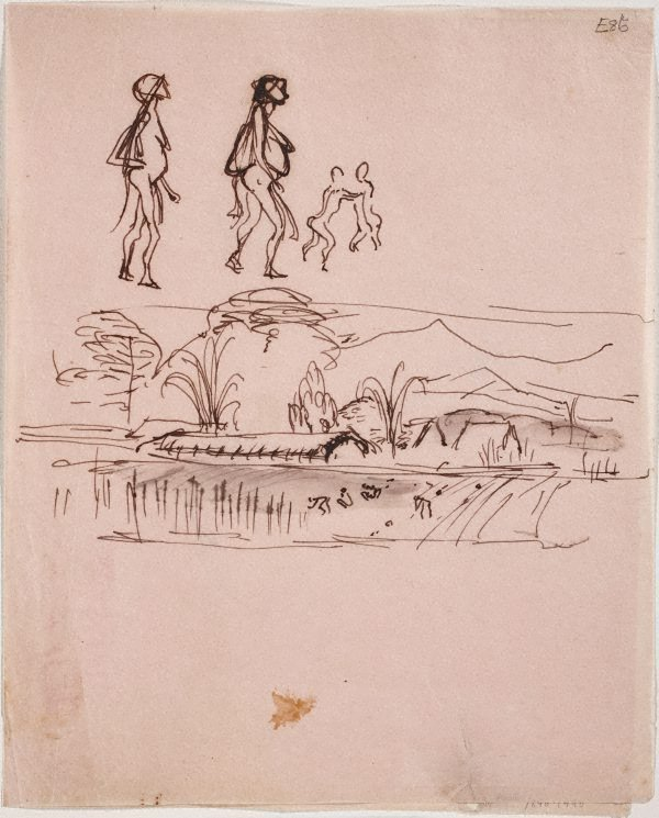 An image of (Figures and landscape) (Landscapes and natives from New Guinea)