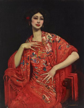 AGNSW collection George W Lambert The red shawl 1913