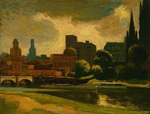 An image of Morning on the Yarra by Roland Wakelin