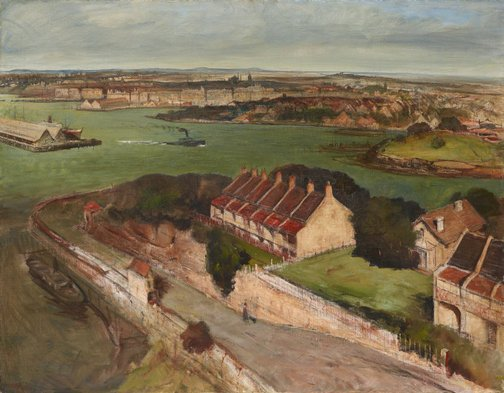 An image of The Harbour from McMahon's Point by Lloyd Rees