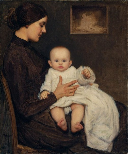 An image of Mother and child by George W Lambert