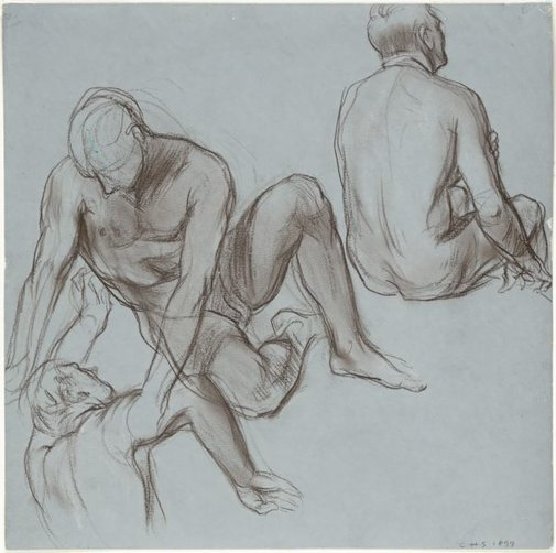 An image of Studies of three nude male figures by Charles Shannon