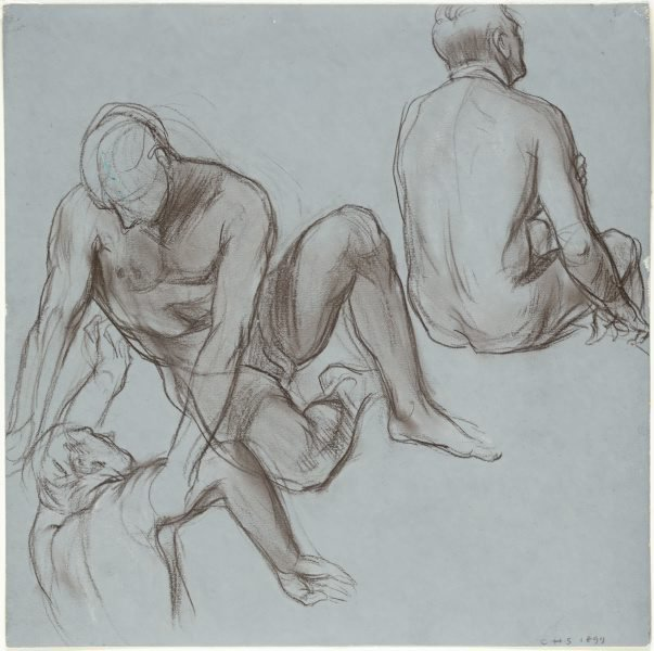 An image of Studies of three nude male figures