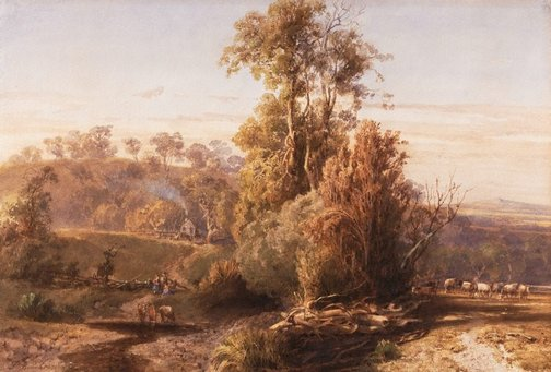An image of A summer evening in the Pentland Hills by Louis Buvelot