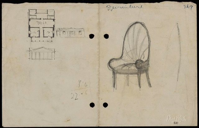 An image of recto: Chair [right] and House plan [left] verso: Composition sketches [upside down]