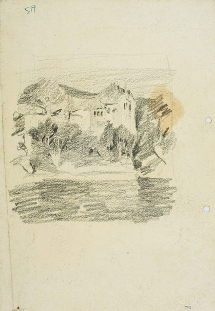 An image of recto: House by the water verso: Rocky harbour shore with Old Musgrave Street wharf by Lloyd Rees