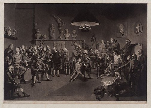 An image of The academicians of the Royal Academy by Richard Earlom, after Johann Zoffany