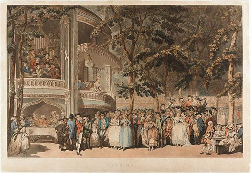 An image of Vauxhall Gardens by Robert Pollard, Frances Jukes, after Thomas Rowlandson