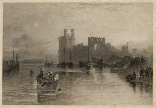 An image of Caernarvon Castle, Wales by William Radclyffe, after Joseph Mallord William Turner