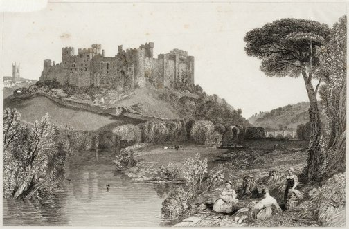 An image of Ludlow Castle, Shropshire by Robert Wallis, after Joseph Mallord William Turner