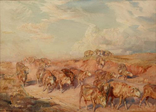 An image of Drought sheep by Hans Heysen