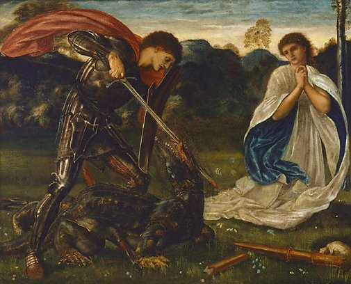 An image of The fight: St George kills the dragon VI by Sir Edward Coley Burne-Jones