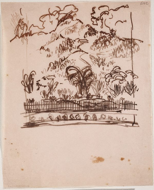 An image of (Landscape with fence) (Landscapes and natives from New Guinea)